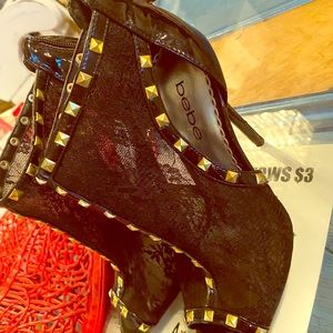 Lace see through heeled studded heels